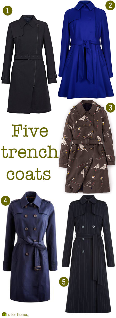 selection of 5 trench coats