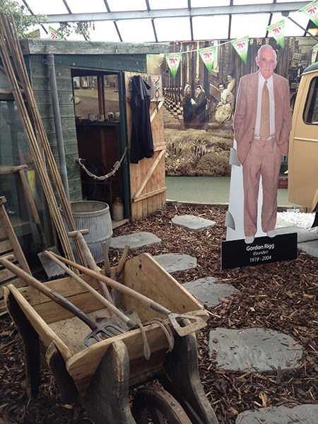 Cardboard cut-out photo of Gordon Rigg, part of the garden centre's 70th anniversary allotment installation