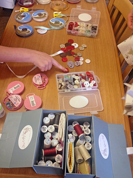 Buttons, threads and ribbon for crafting