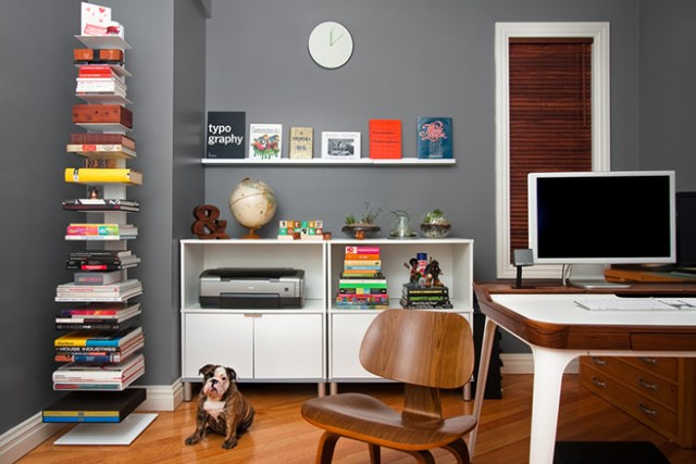 Eclectic home office with painted grey walls