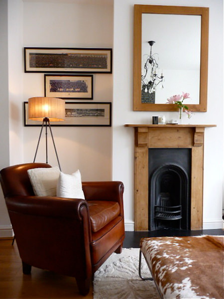 Chestnut coloured leather club chair in a sitting room