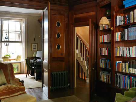 Wood panelled library and home office