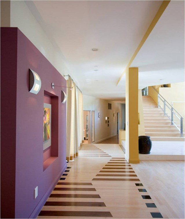 Corridor with purple painted feature wall