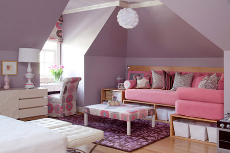mauve-painted girl's bedroom