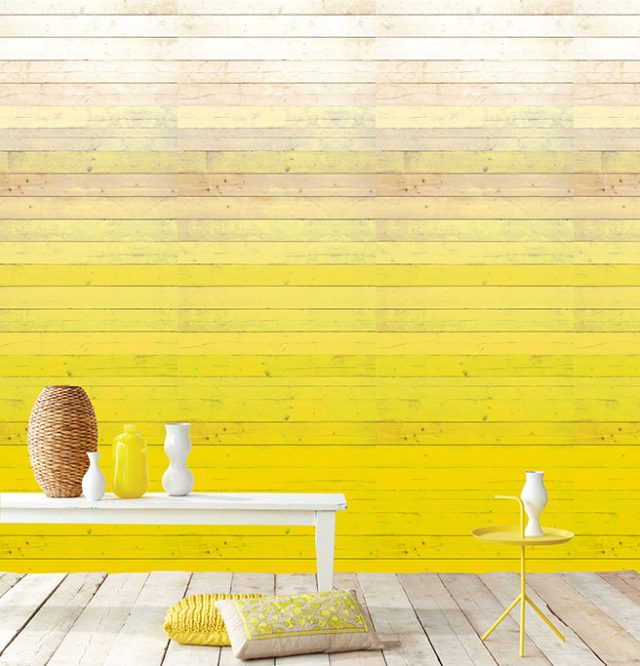 Yellow ombré wood effect wallpaper