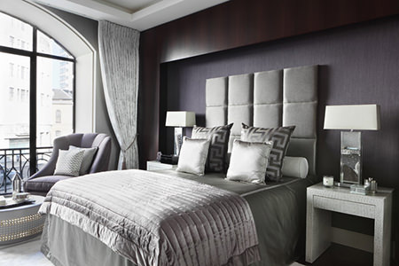 Pewter-decorated bedroom