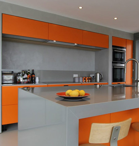 orange and grey kitchen