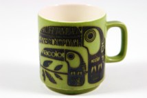 vintage Hornsea Pottery mug with newsprint toucans