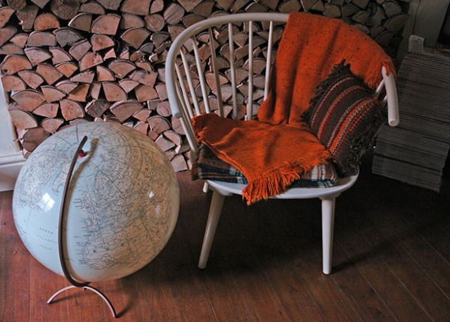 Vintage inflatable globe with bent wood chair   H is for Home