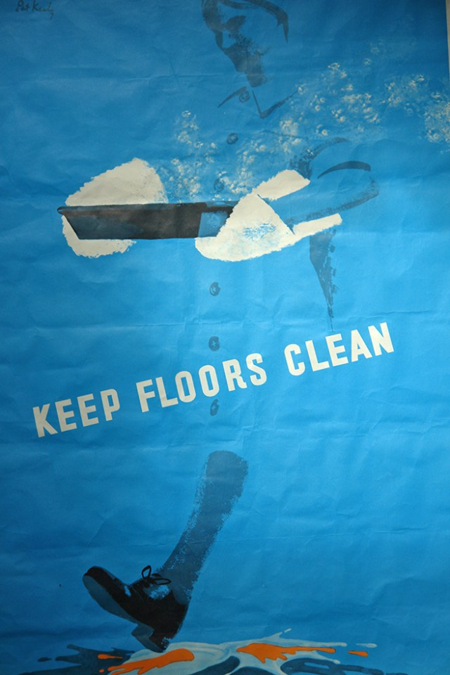 Vintage 'Keep Floors Clean' safety poster designed by Pat Keely for Royal Society for the Prevention of Accidents | H is for Home