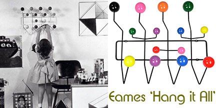Vintage & reproduction Eames Hang it Alls side by side