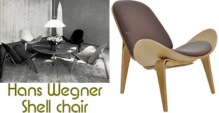 Vintage and reproduction Hans Wegner Shell chairs side by side
