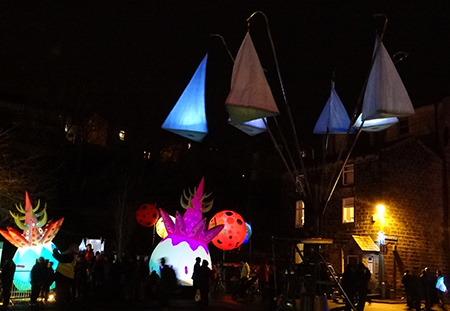Lanterns canalside at Todmorden's Lamplighter Festival 2014