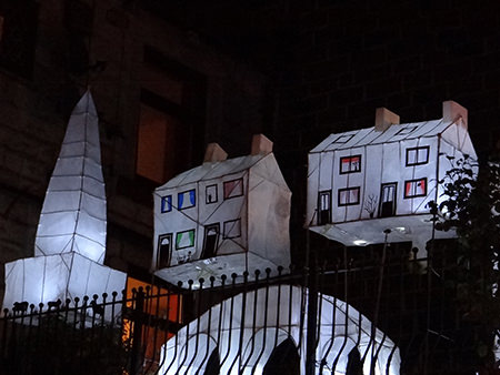Lanterns in the shape of houses and Stoodley Pike at Todmorden's Lamplighter Festival