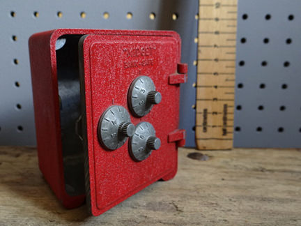 red vintage miniature safe