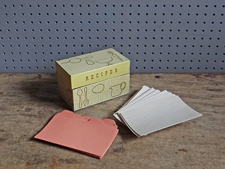 Vintage recipe tin with cards and tabs