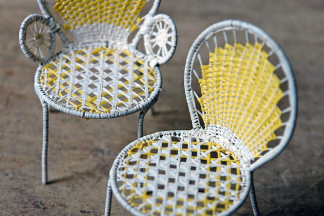 Toy miniature woven garden chairs | H is for Home