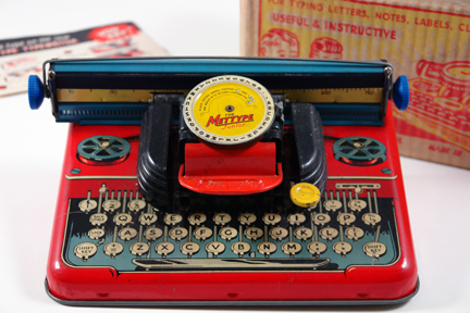 vintage 1950s red tin Mettype typewriter | H is for Home