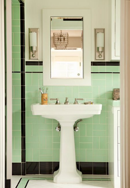 pedestal basin in a vintage-inspired bathroom