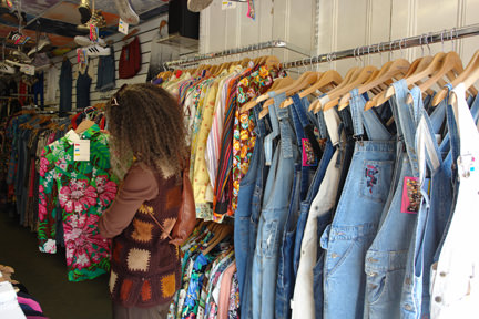 selection of vintage denim dungarees in Blue Rinse, Oldham Street, Manchester