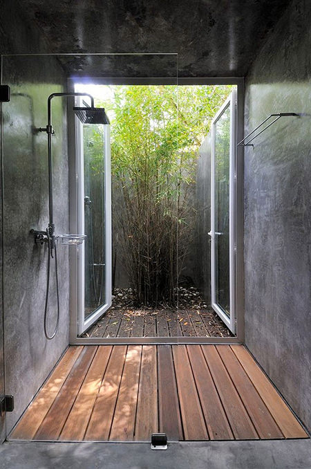 Wet room leading out onto a patio area