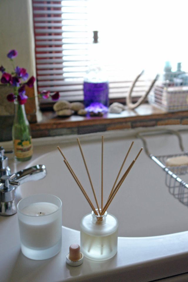 Corner of our bathroom showing George at Asda candle and diffuser | H is for Home
