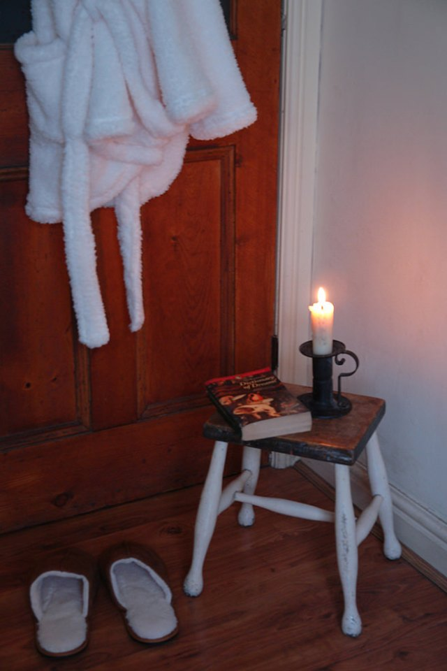 Our bathroom showing cream bathrobe and brown slippers from George at Asda | H is for Home