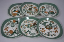 vintage Figgo Flint 'Sicilia' folk decorated plates