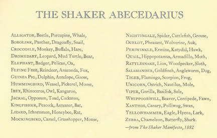 List of animals in the Shaker Abecedarius