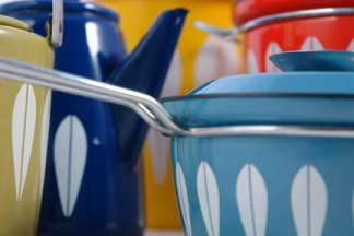 Collection of vintage Cathrineholm 'Lotus' enamelware