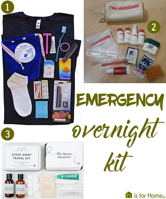 Emergency overnight kits | H is for Home