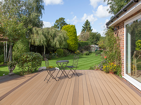 garden decking with metal bistro furniture