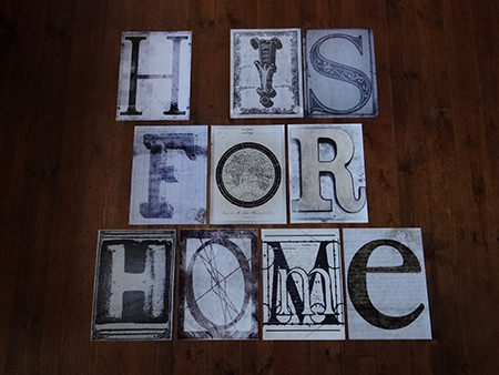 sheets of font characters from the 1Wall Creative Collage set spelling out H is for Home