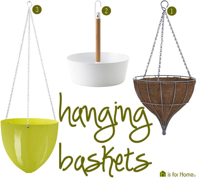 Three hanging baskets | H is for Home