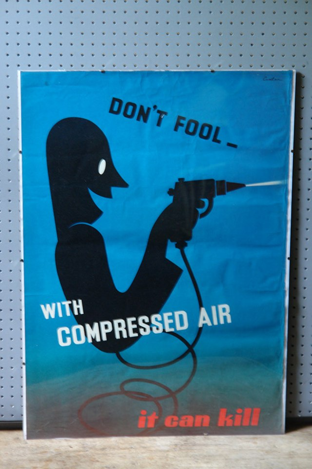 Vintage Leonard Cusden designed safety poster 'Don't fool with compressed air it can kill' | H is for Home