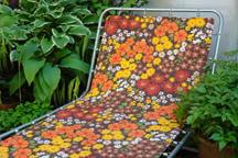 vintage 1970s floral sun lounger