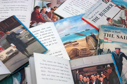 View of vintage Ladybird books showing different occupations | H is for Home