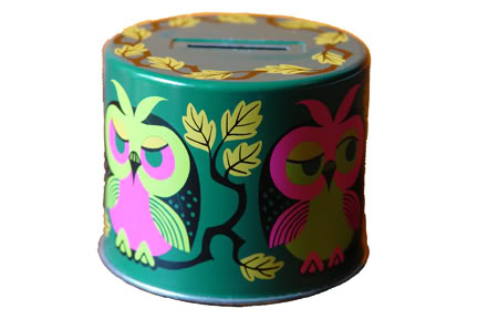 Vintage tin money box decorated with owls | H is for Home