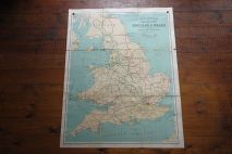 Vintage 'Railway' school wall map of England & Wales