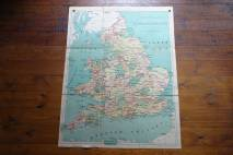 Vintage 'Reduced' school wall map of England & Wales
