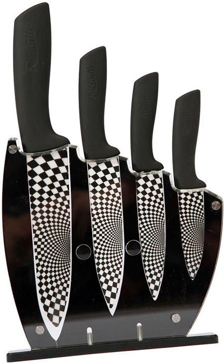 Set of Rocknife ceramic knives with black & white chequeur board blades and black handles