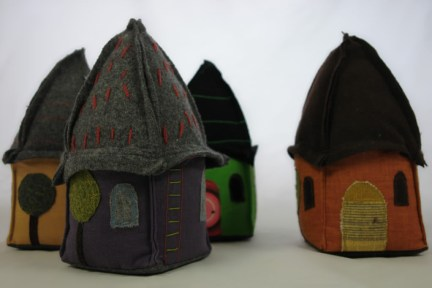 Group image of fabric & felt house doorstops designed & made by Sarah Nicol