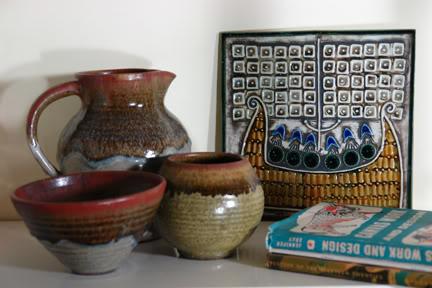 vintage Lisa Larson tile on our sitting room shelf   H is for Home