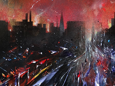 Detail of 'Skidding icy sunset. Crescent, Salford' original oil painting by David Wild