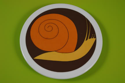 Vintage Scandinavian pottery plaque with illustration of a snail | H is for Home
