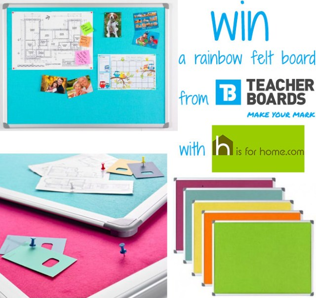 Win a rainbow felt board from Teacherboards with H is for Home