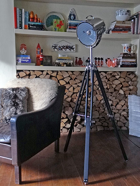 Retro tripod lamp from Furniture Village in our sitting room