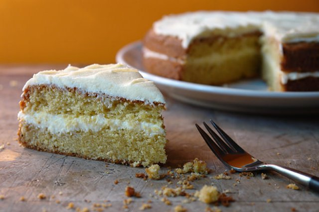 Slice of home-made yellow layer cake | H is for Home