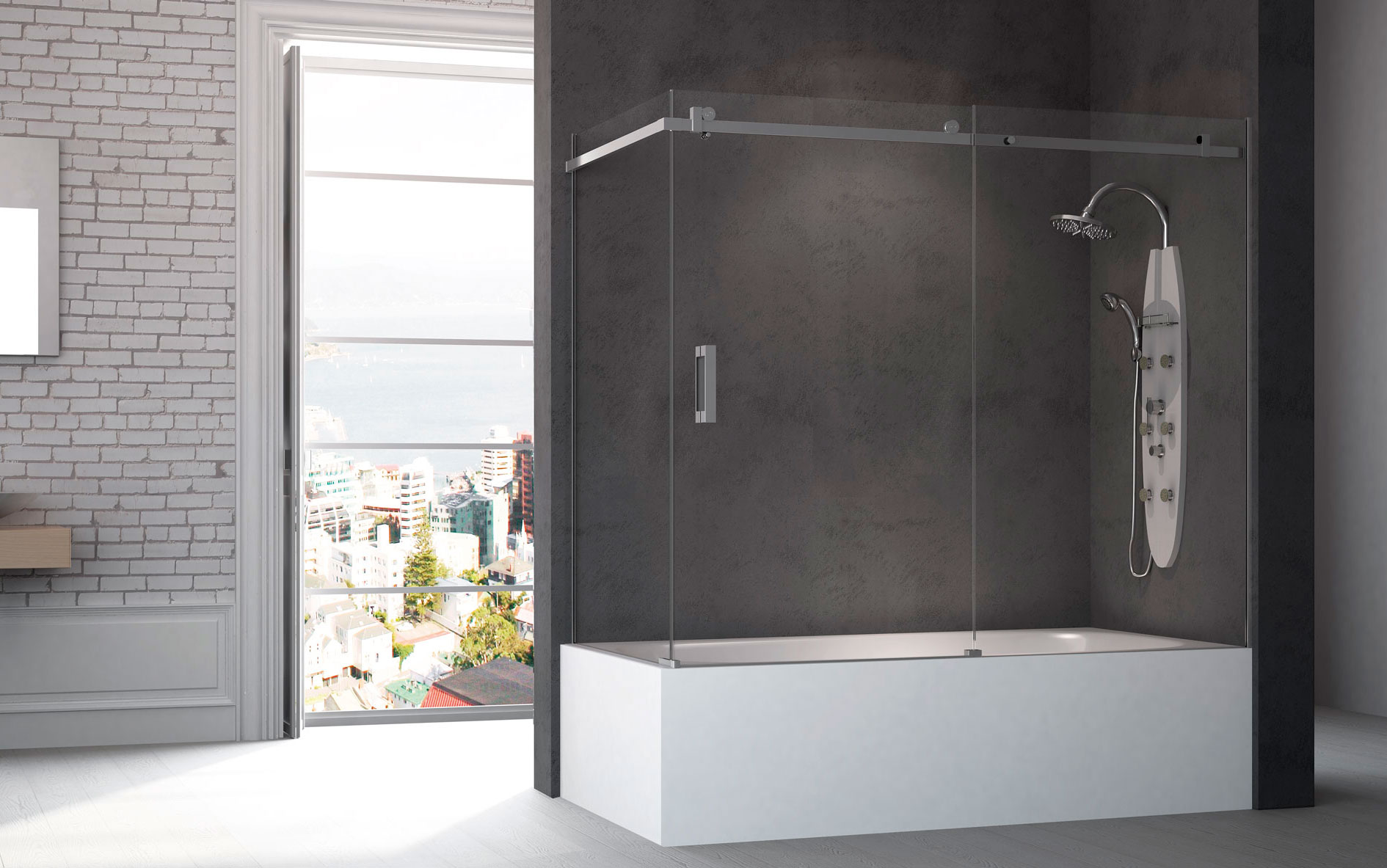 Bad Wand Glas Model 650 Bath Front One Fixed One Panel One Fixed