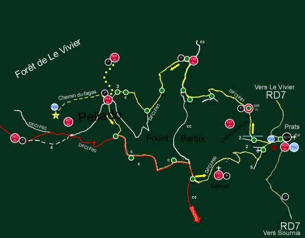 Rouge : Tracé commun GR 36 et tour du Fenouillèdes. Jaune : Sentier des cabanes. Flèches jaunes : Sens de progression. Tirets jaunes : Sentier d'Emilie Randonnées Pyrénéennes. Pointillés jaunes : Accès dans les broussailles hors trace de sentier. 1 : Hêtre remarquable du Bosc d'en Baillette. 2 : Voies pavées. 3 : Panneau sentier des cabanes 3.5.km = distance restant à parcourir. 4 : Accès hors balisage, sur pelouse naturelle sommitale après le col, versant sud. 5 : Carrerasse : réseau de voies antiques, de transhumance ? Sillonnant le bassin de l'Agly. C : Cabanes de 15 à 30 m² et plus en surface utile. CC : Camin de Caudiès. De Limoux à Prades par Caudiès. P : Points les plus panoramiques. SCV : Ancienne cave coopérative. Pisc : Piscine municipale avec maître nageur. Bar piscine. 00 : Point de départ et d'arrivée. Doublez les temps intermédiaires si vous êtes un marcheur occasionnel.